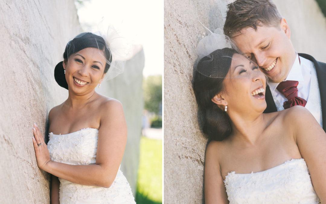 Brudpar vid bröllopsfotografering vid Klippans kulturområde i Göteborg
